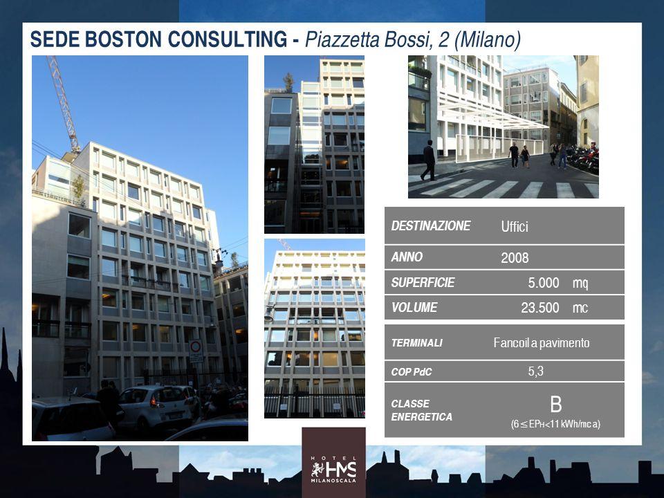 TERMINALI Fancoil a pavimento COP PdC 5,3 CLASSE ENERGETICA B (6EP H <11 kWh/mc a) SEDE BOSTON CONSULTING - Piazzetta Bossi, 2 (Milano) DESTINAZIONE U