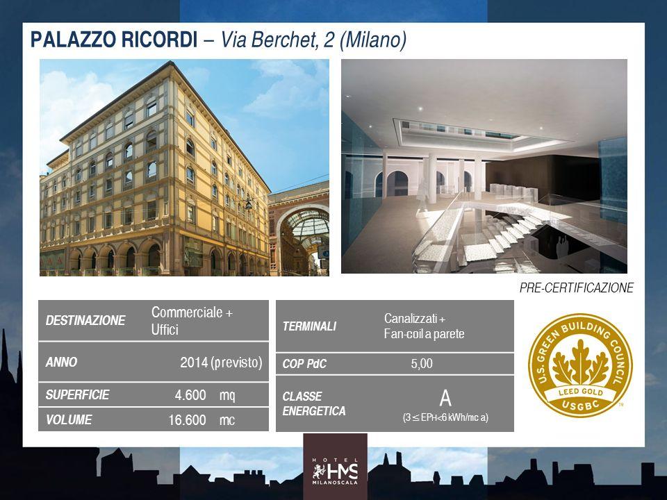 DESTINAZIONE Commerciale + Uffici ANNO 2014 (previsto) SUPERFICIE 4.600mq VOLUME 16.600mc PALAZZO RICORDI – Via Berchet, 2 (Milano) TERMINALI Canalizz