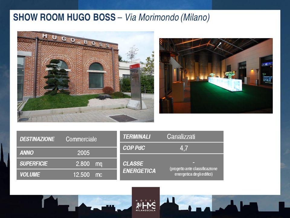 SHOW ROOM HUGO BOSS – Via Morimondo (Milano) CONSUMI ENERGETICI PER MC - 51%- 36%- 47% PdC condensata ad acqua di falda (inverno ed estate) Caldaia a condensazione (inverno) con chiller condensato ad aria (estate) - 34% CO 2 in atmosfera RISPARMIO ENERGETICO / ECONOMICO ABBATTIMENTO EMISSIONI CO 2 EMISSIONI ANNUALI DI CO 2 PER MQ EMISSIONI DI CO 2 DEAD-LINE 2020 - 740.000 kgCO 2 entro il 2020 19.600 /anno risparmiati 12% sconto oneri urbanizzazione + 23.500 rispetto al tradizionale da Delibera comunale 73/07 + Circolari 1/08 e 2/11