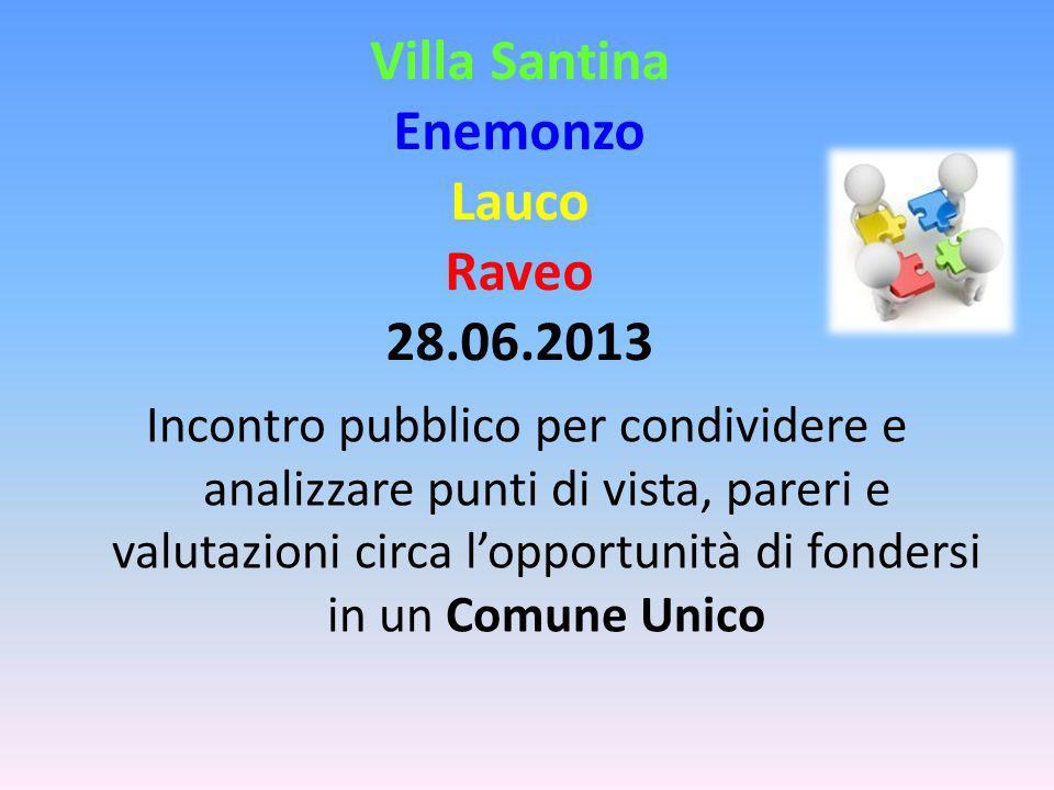 Villa Santina Enemonzo Lauco Raveo 28.06.2013 Incontro pubblico per condividere e analizzare punti di vista, pareri e valutazioni circa lopportunità di fondersi in un Comune Unico