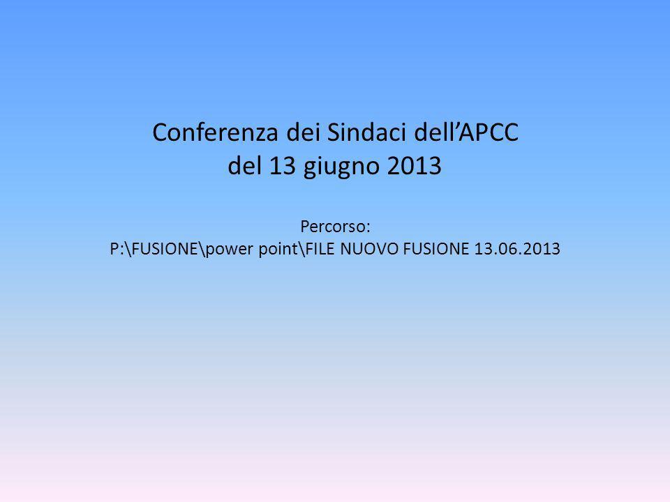 Conferenza dei Sindaci dellAPCC del 13 giugno 2013 Percorso: P:\FUSIONE\power point\FILE NUOVO FUSIONE 13.06.2013