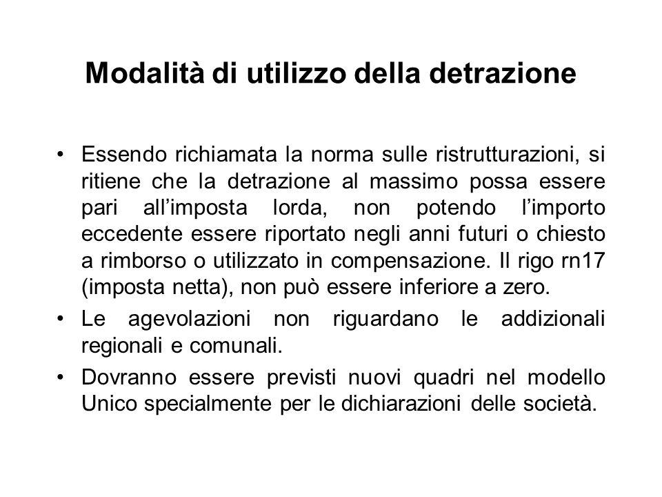 Modalità di utilizzo della detrazione Essendo richiamata la norma sulle ristrutturazioni, si ritiene che la detrazione al massimo possa essere pari al