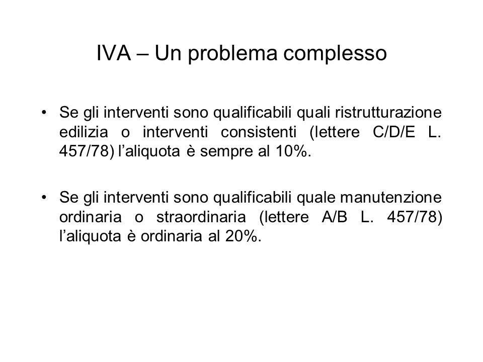 IVA – Un problema complesso Se gli interventi sono qualificabili quali ristrutturazione edilizia o interventi consistenti (lettere C/D/E L. 457/78) la