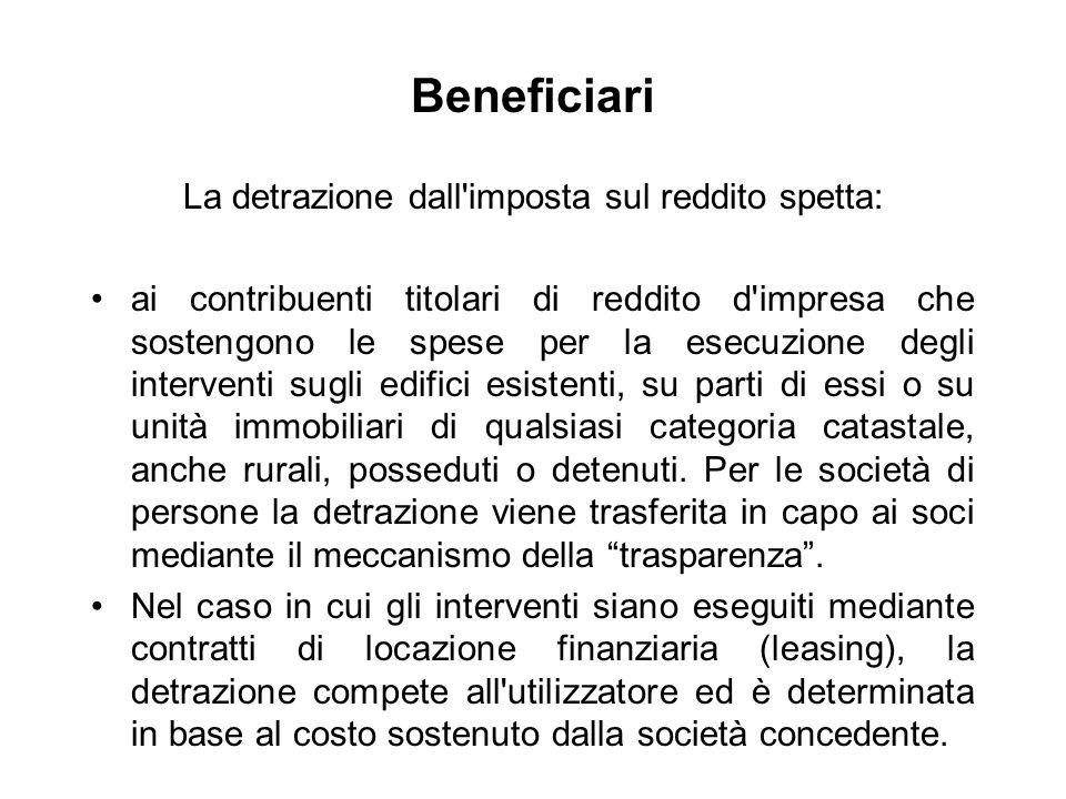 Beneficiari La detrazione dall'imposta sul reddito spetta: ai contribuenti titolari di reddito d'impresa che sostengono le spese per la esecuzione deg
