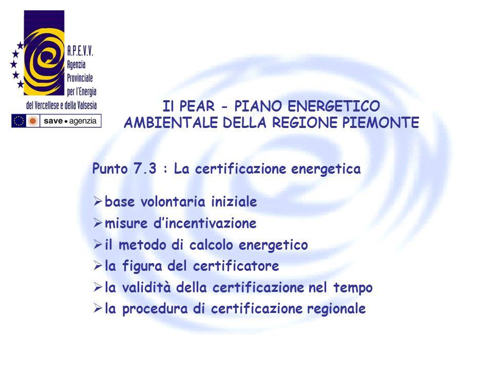 Il PEAR - PIANO ENERGETICO AMBIENTALE DELLA REGIONE PIEMONTE Punto 7.3 : La certificazione energetica base volontaria iniziale misure dincentivazione