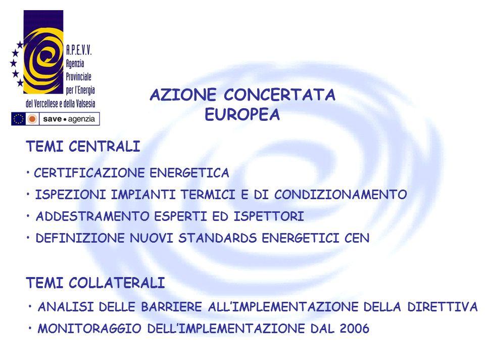 AZIONE CONCERTATA EUROPEA CERTIFICAZIONE ENERGETICA ISPEZIONI IMPIANTI TERMICI E DI CONDIZIONAMENTO ADDESTRAMENTO ESPERTI ED ISPETTORI DEFINIZIONE NUO