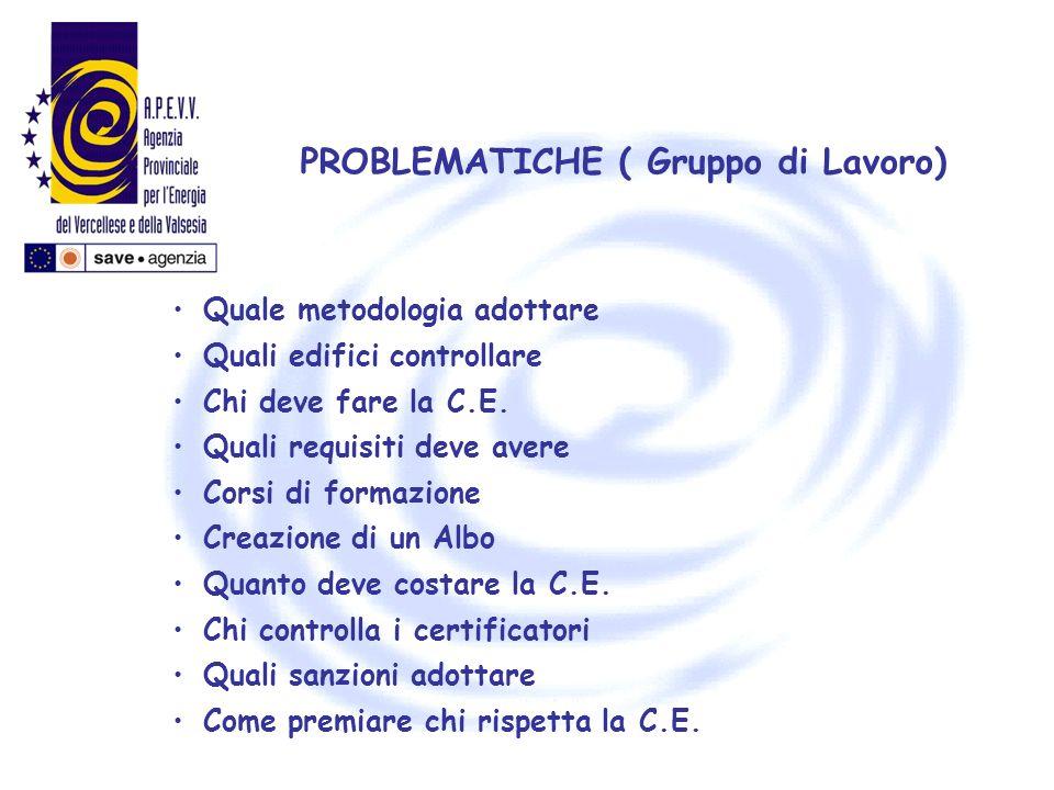 PROBLEMATICHE ( Gruppo di Lavoro) Quale metodologia adottare Quali edifici controllare Chi deve fare la C.E. Quali requisiti deve avere Corsi di forma