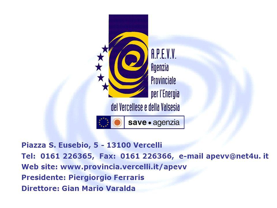 Piazza S. Eusebio, 5 - 13100 Vercelli Tel: 0161 226365, Fax: 0161 226366, e-mail apevv@net4u. it Web site: www.provincia.vercelli.it/apevv Presidente: