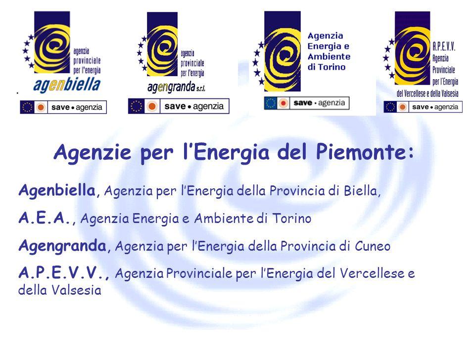Agenzie per lEnergia del Piemonte: Agenbiella, Agenzia per lEnergia della Provincia di Biella, A.E.A., Agenzia Energia e Ambiente di Torino Agengranda