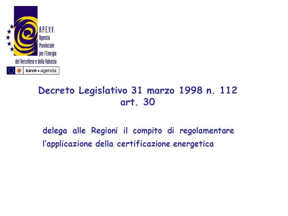 delega alle Regioni il compito di regolamentare lapplicazione della certificazione energetica Decreto Legislativo 31 marzo 1998 n. 112 art. 30
