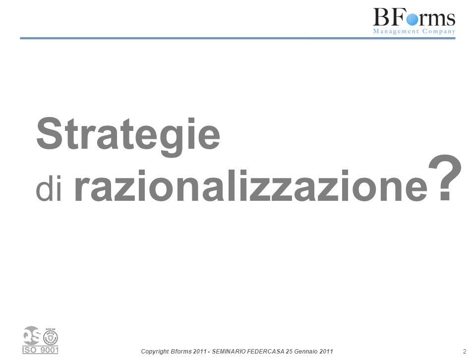 Copyright Bforms 2011 - SEMINARIO FEDERCASA 25 Gennaio 2011 2 Strategie di razionalizzazione ?