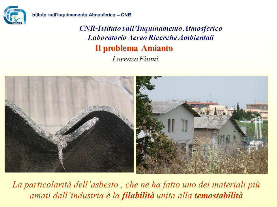 Il problema Amianto Lorenza Fiumi Lorenza Fiumi CNR-Istituto sullInquinamento Atmosferico Laboratorio Aereo Ricerche Ambientali La particolarità della