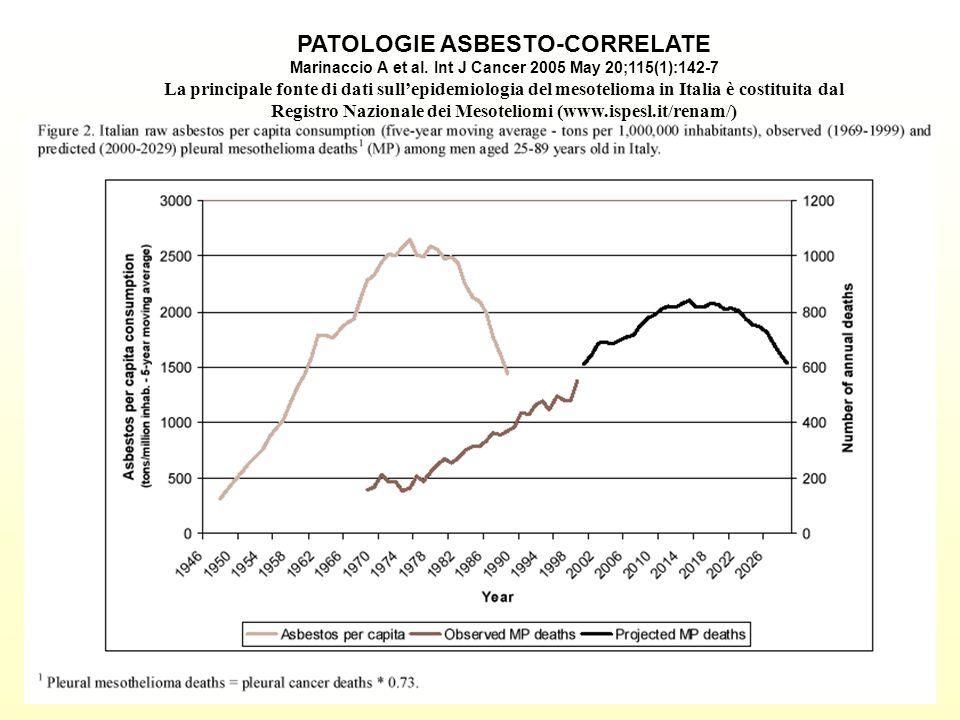 PATOLOGIE ASBESTO-CORRELATE Marinaccio A et al. Int J Cancer 2005 May 20;115(1):142-7 La principale fonte di dati sullepidemiologia del mesotelioma in