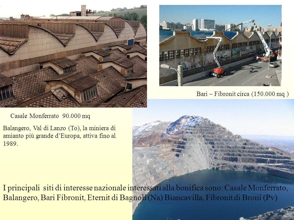 I principali siti di interesse nazionale interessati alla bonifica sono: Casale Monferrato, Balangero, Bari Fibronit, Eternit di Bagnoli (Na) Biancavi