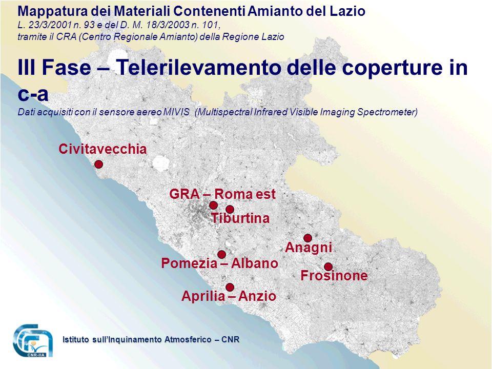Aprilia – Anzio Pomezia – Albano Tiburtina GRA – Roma est Anagni Frosinone Civitavecchia Istituto sullInquinamento Atmosferico – CNR Mappatura dei Mat