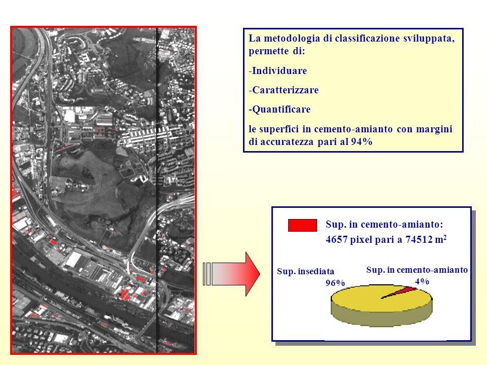 Sup. in cemento-amianto: 4657 pixel pari a 74512 m 2 Sup. insediata 96% La metodologia di classificazione sviluppata, permette di: -Individuare -Carat