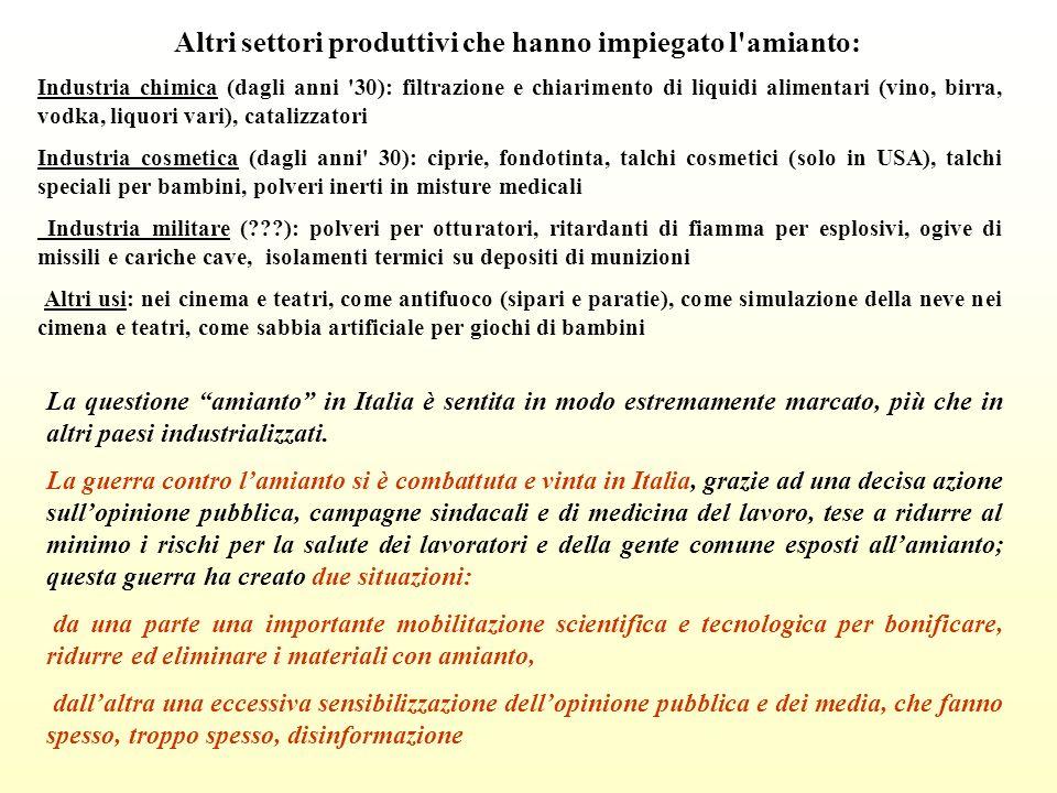 Altri settori produttivi che hanno impiegato l'amianto: Industria chimica (dagli anni '30): filtrazione e chiarimento di liquidi alimentari (vino, bir