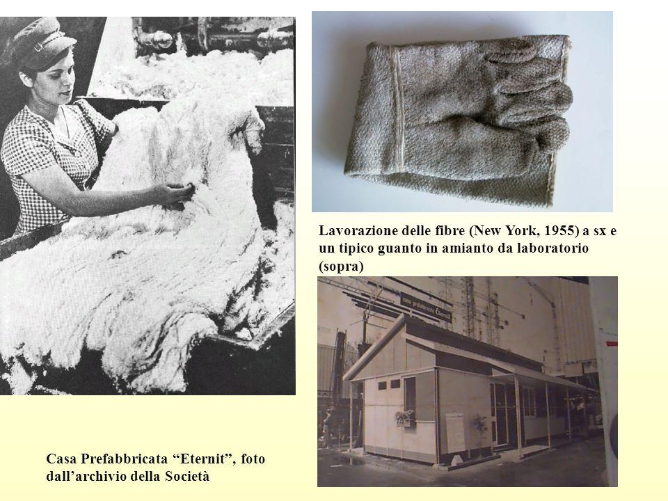 Lavorazione delle fibre (New York, 1955) a sx e un tipico guanto in amianto da laboratorio (sopra) Casa Prefabbricata Eternit, foto dallarchivio della