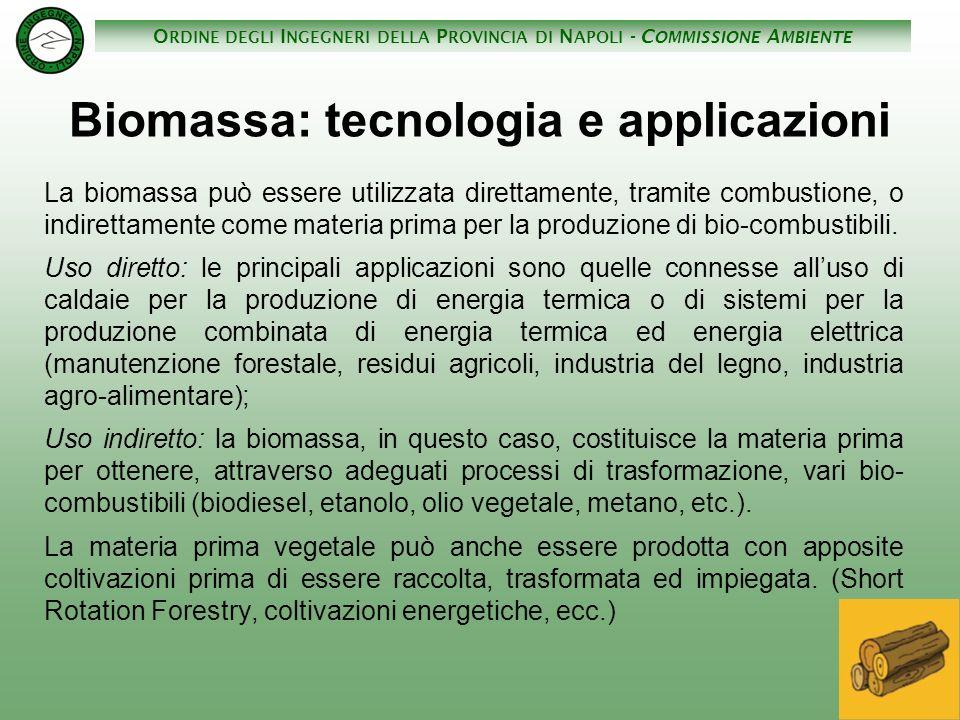 O RDINE DEGLI I NGEGNERI DELLA P ROVINCIA DI N APOLI - C OMMISSIONE A MBIENTE Biomassa: tecnologia e applicazioni La biomassa può essere utilizzata di