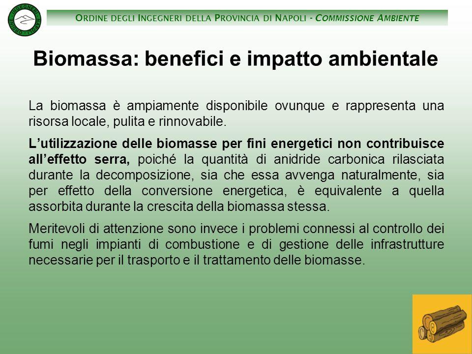 O RDINE DEGLI I NGEGNERI DELLA P ROVINCIA DI N APOLI - C OMMISSIONE A MBIENTE Biomassa: benefici e impatto ambientale La biomassa è ampiamente disponi