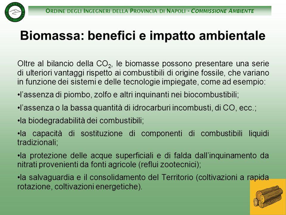O RDINE DEGLI I NGEGNERI DELLA P ROVINCIA DI N APOLI - C OMMISSIONE A MBIENTE Biomassa: benefici e impatto ambientale Oltre al bilancio della CO 2, le