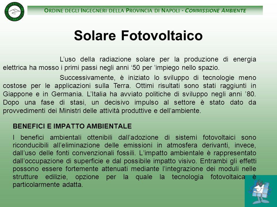 O RDINE DEGLI I NGEGNERI DELLA P ROVINCIA DI N APOLI - C OMMISSIONE A MBIENTE Solare Fotovoltaico BENEFICI E IMPATTO AMBIENTALE I benefici ambientali