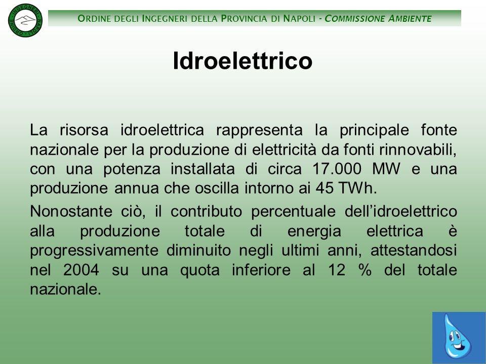 O RDINE DEGLI I NGEGNERI DELLA P ROVINCIA DI N APOLI - C OMMISSIONE A MBIENTE La produzione di energia elettrica da legna nel 2004 è stata di 2190 MWh (3,9% dellEE da FR) La produzione di energia elettrica da biogas nel 2004 è stata di 1170 MWh, pari circa 105000 tep (2,1% dellEE da FR); Produzione EE da FR.