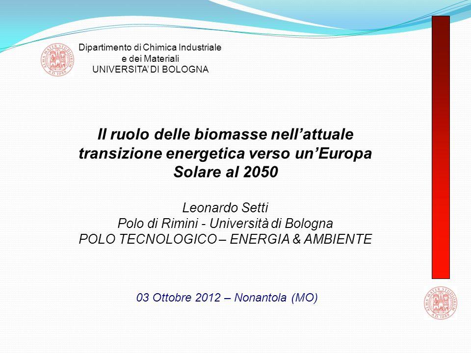 Dipartimento di Chimica Industriale e dei Materiali UNIVERSITA DI BOLOGNA Il ruolo delle biomasse nellattuale transizione energetica verso unEuropa So