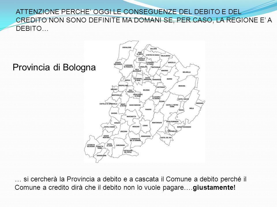 ATTENZIONE PERCHE OGGI LE CONSEGUENZE DEL DEBITO E DEL CREDITO NON SONO DEFINITE MA DOMANI SE, PER CASO, LA REGIONE E A DEBITO… Provincia di Bologna … si cercherà la Provincia a debito e a cascata il Comune a debito perché il Comune a credito dirà che il debito non lo vuole pagare….giustamente!