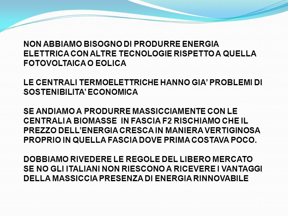 NON ABBIAMO BISOGNO DI PRODURRE ENERGIA ELETTRICA CON ALTRE TECNOLOGIE RISPETTO A QUELLA FOTOVOLTAICA O EOLICA LE CENTRALI TERMOELETTRICHE HANNO GIA PROBLEMI DI SOSTENIBILITA ECONOMICA SE ANDIAMO A PRODURRE MASSICCIAMENTE CON LE CENTRALI A BIOMASSE IN FASCIA F2 RISCHIAMO CHE IL PREZZO DELLENERGIA CRESCA IN MANIERA VERTIGINOSA PROPRIO IN QUELLA FASCIA DOVE PRIMA COSTAVA POCO.