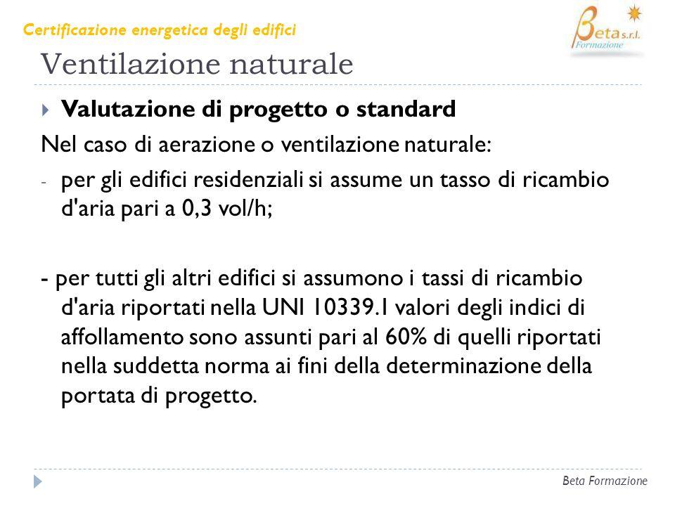 Ventilazione naturale Valutazione di progetto o standard Nel caso di aerazione o ventilazione naturale: - per gli edifici residenziali si assume un ta