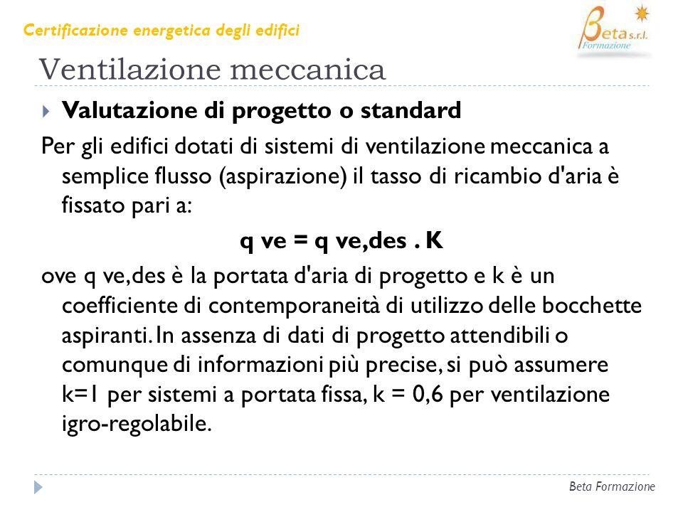 Ventilazione meccanica Valutazione di progetto o standard Per gli edifici dotati di sistemi di ventilazione meccanica a semplice flusso (aspirazione)