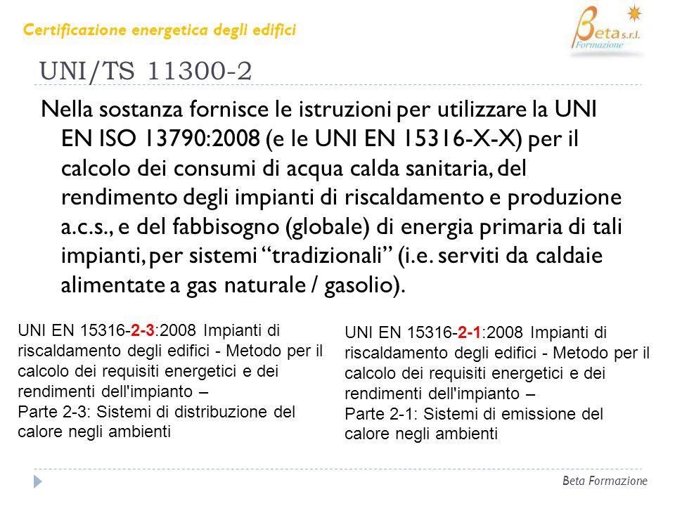 UNI/TS 11300-2 Nella sostanza fornisce le istruzioni per utilizzare la UNI EN ISO 13790:2008 (e le UNI EN 15316-X-X) per il calcolo dei consumi di acq