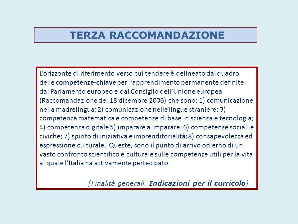 Lorizzonte di riferimento verso cui tendere è delineato dal quadro delle competenze-chiave per lapprendimento permanente definite dal Parlamento europeo e dal Consiglio dellUnione europea (Raccomandazione del 18 dicembre 2006) che sono: 1) comunicazione nella madrelingua; 2) comunicazione nelle lingue straniere; 3) competenza matematica e competenze di base in scienza e tecnologia; 4) competenza digitale 5) imparare a imparare; 6) competenze sociali e civiche; 7) spirito di iniziativa e imprenditorialità; 8) consapevolezza ed espressione culturale.