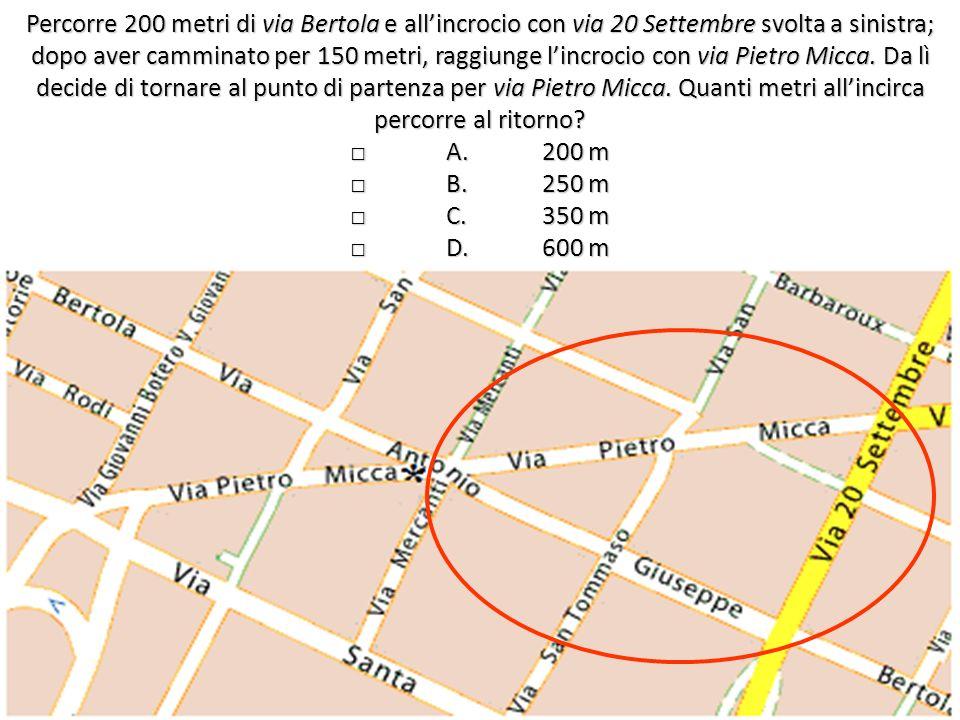 Percorre 200 metri di via Bertola e allincrocio con via 20 Settembre svolta a sinistra; dopo aver camminato per 150 metri, raggiunge lincrocio con via Pietro Micca.