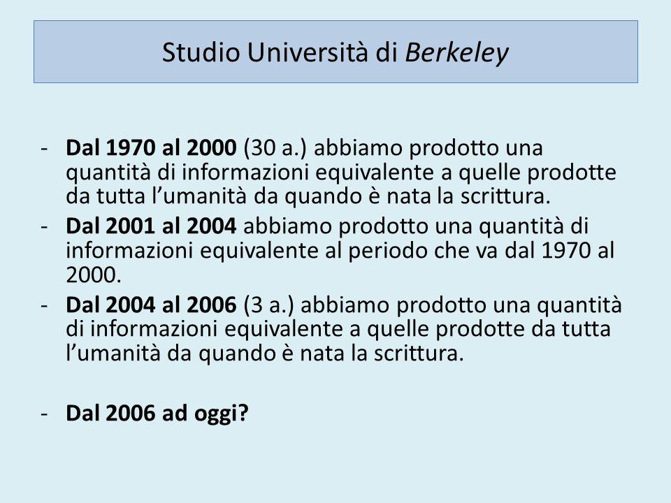 Studio Università di Berkeley -Dal 1970 al 2000 (30 a.) abbiamo prodotto una quantità di informazioni equivalente a quelle prodotte da tutta lumanità da quando è nata la scrittura.