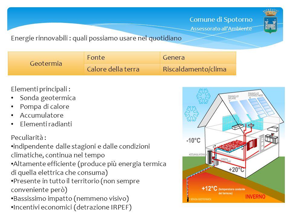 Comune di Spotorno Assessorato allAmbiente Geotermia : al di sotto della superficie terrestre, la temperatura è costante, e cresce con la profondità.
