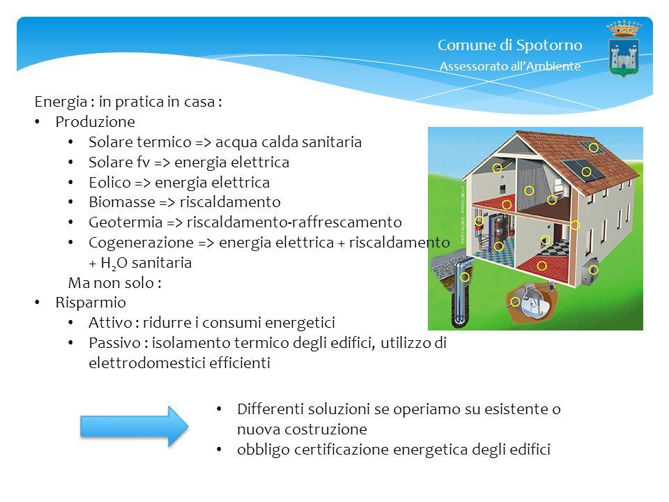Comune di Spotorno Assessorato allAmbiente Energia : in pratica in casa : Produzione Solare termico => acqua calda sanitaria Solare fv => energia elet
