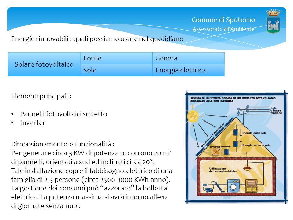 Comune di Spotorno Assessorato allAmbiente Energie rinnovabili : quali possiamo usare nel quotidiano Solare fotovoltaico FonteGenera SoleEnergia elettrica Esempio : Famiglia di 3-4 persone Consumo medio evitato di energia elettrica ( per produzione) 2.800 x 0,18 = 500 allanno (in aumento) Un impianto fotovoltaico residenziale da 3kWp (20m 2 di tetto) in Italia settentrionale, ha un costo chiavi in mano di circa 9.000 + IVA 10% => 10.000 Produzione dellimpianto = 2.800kWh allanno, guadagno conto energia = 2.800kWh x 0,26 = 750 allanno.