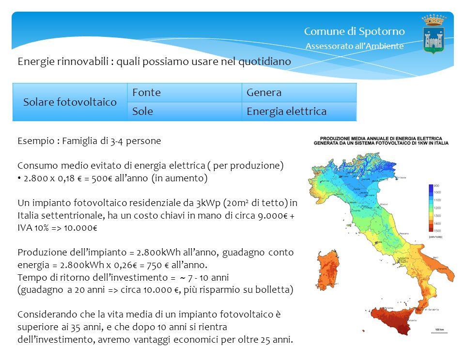 Comune di Spotorno Assessorato allAmbiente Energie rinnovabili : quali possiamo usare nel quotidiano Solare fotovoltaico FonteGenera SoleEnergia elett