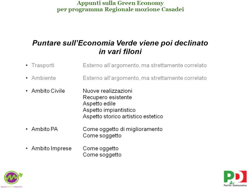 Appunti sulla Green Economy per programma Regionale mozione Casadei