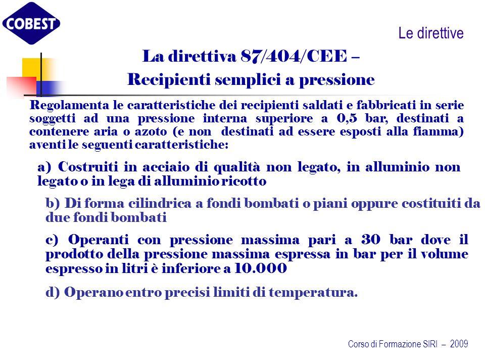Le direttive Regolamenta le caratteristiche dei recipienti saldati e fabbricati in serie soggetti ad una pressione interna superiore a 0,5 bar, destinati a contenere aria o azoto (e non destinati ad essere esposti alla fiamma) aventi le seguenti caratteristiche: La direttiva 87/404/CEE – Recipienti semplici a pressione a) Costruiti in acciaio di qualità non legato, in alluminio non legato o in lega di alluminio ricotto b) Di forma cilindrica a fondi bombati o piani oppure costituiti da due fondi bombati c) Operanti con pressione massima pari a 30 bar dove il prodotto della pressione massima espressa in bar per il volume espresso in litri è inferiore a 10.000 d) Operano entro precisi limiti di temperatura.