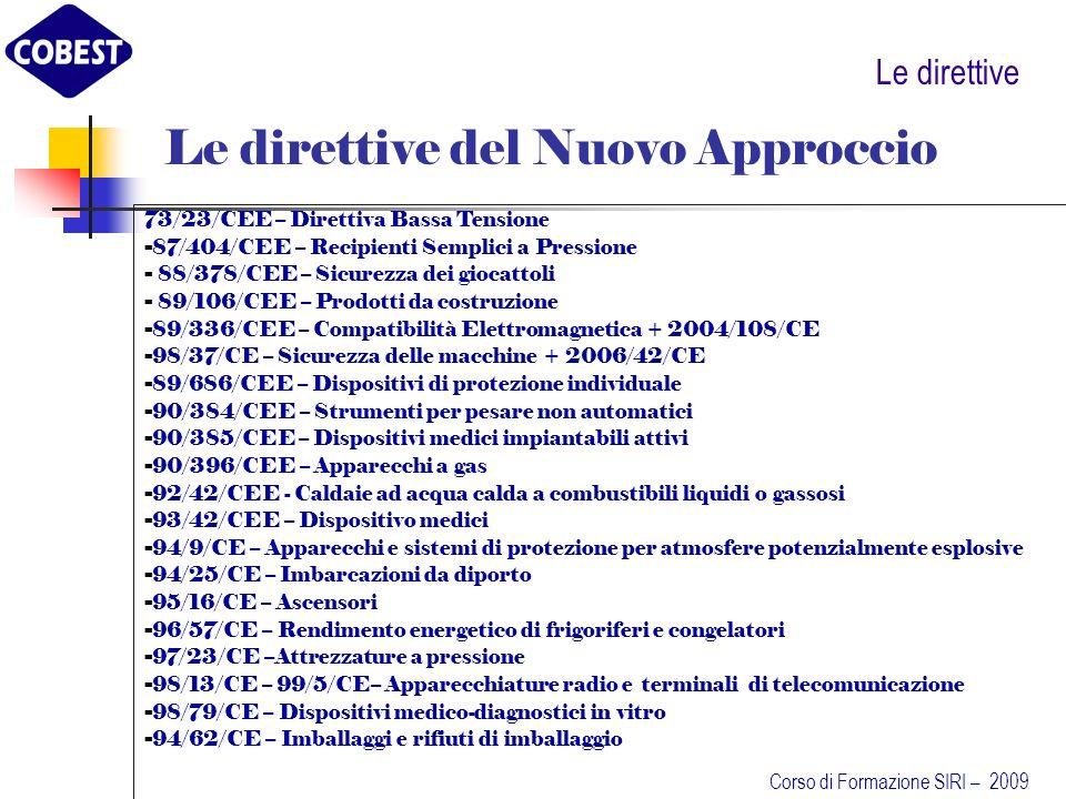 Le direttive Le direttive del Nuovo Approccio 73/23/CEE – Direttiva Bassa Tensione - 87/404/CEE – Recipienti Semplici a Pressione - 88/378/CEE – Sicurezza dei giocattoli - 89/106/CEE – Prodotti da costruzione - 89/336/CEE – Compatibilità Elettromagnetica + 2004/108/CE - 98/37/CE – Sicurezza delle macchine + 2006/42/CE - 89/686/CEE – Dispositivi di protezione individuale - 90/384/CEE – Strumenti per pesare non automatici - 90/385/CEE – Dispositivi medici impiantabili attivi - 90/396/CEE – Apparecchi a gas - 92/42/CEE - Caldaie ad acqua calda a combustibili liquidi o gassosi - 93/42/CEE – Dispositivo medici - 94/9/CE – Apparecchi e sistemi di protezione per atmosfere potenzialmente esplosive - 94/25/CE – Imbarcazioni da diporto - 95/16/CE – Ascensori - 96/57/CE – Rendimento energetico di frigoriferi e congelatori - 97/23/CE –Attrezzature a pressione - 98/13/CE – 99/5/CE– Apparecchiature radio e terminali di telecomunicazione - 98/79/CE – Dispositivi medico-diagnostici in vitro - 94/62/CE – Imballaggi e rifiuti di imballaggio Corso di Formazione SIRI – 2009
