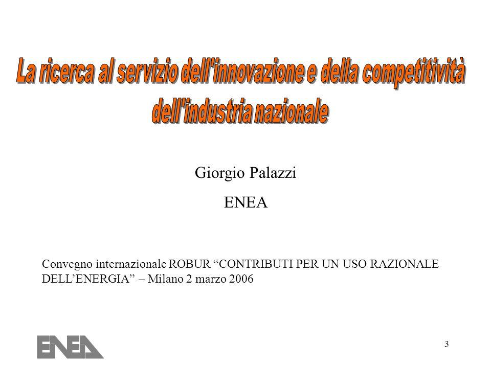 3 Convegno internazionale ROBUR CONTRIBUTI PER UN USO RAZIONALE DELLENERGIA – Milano 2 marzo 2006 Giorgio Palazzi ENEA