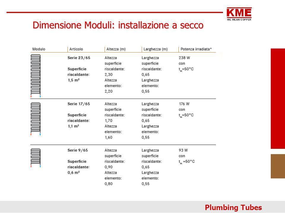 Plumbing Tubes Dimensione Moduli: installazione a secco