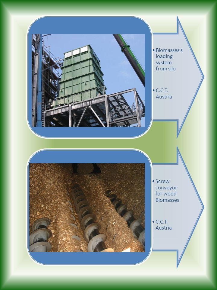 Biomassess loading system from silo C.C.T. Austria Screw conveyor for wood Biomasses C.C.T. Austria