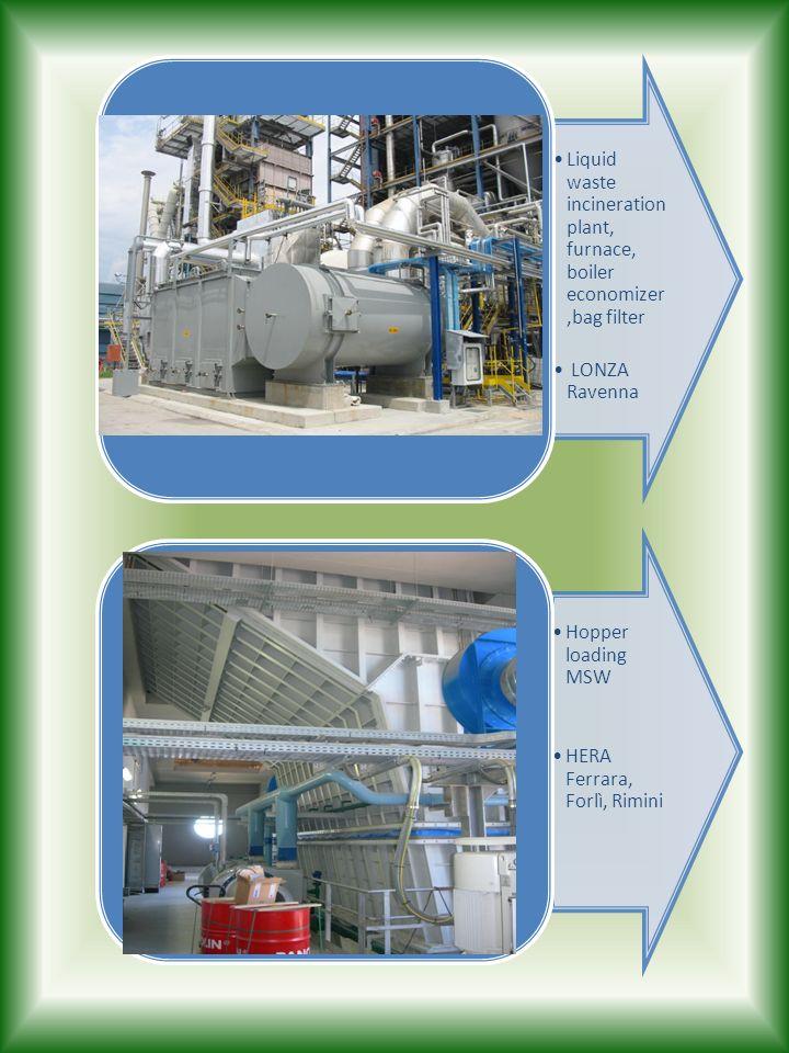 Liquid waste incineration plant, furnace, boiler economizer,bag filter LONZA Ravenna Hopper loading MSW HERA Ferrara, Forlì, Rimini