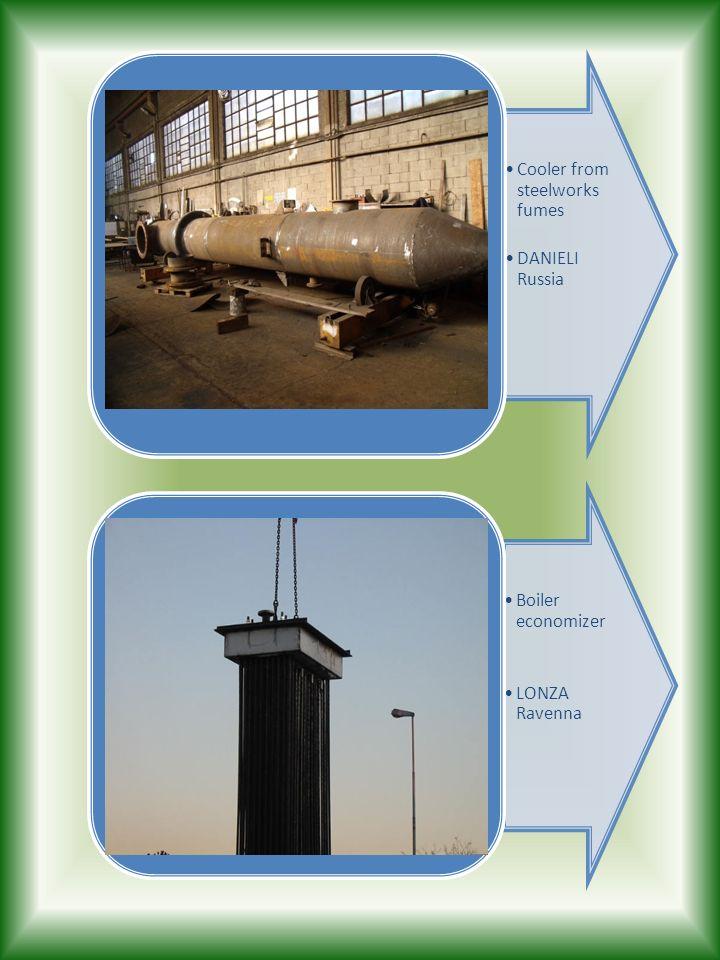 Cooler from steelworks fumes DANIELI Russia Boiler economizer LONZA Ravenna