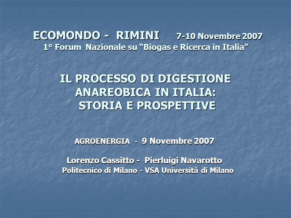 ECOMONDO - RIMINI 7-10 Novembre 2007 1° Forum Nazionale su Biogas e Ricerca in Italia IL PROCESSO DI DIGESTIONE ANAREOBICA IN ITALIA: STORIA E PROSPETTIVE ECOMONDO - RIMINI 7-10 Novembre 2007 1° Forum Nazionale su Biogas e Ricerca in Italia IL PROCESSO DI DIGESTIONE ANAREOBICA IN ITALIA: STORIA E PROSPETTIVE AGROENERGIA - 9 Novembre 2007 Lorenzo Cassitto - Pierluigi Navarotto Politecnico di Milano - VSA Università di Milano Politecnico di Milano - VSA Università di Milano