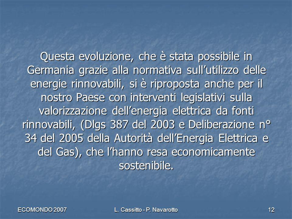 ECOMONDO 2007L. Cassitto - P. Navarotto12 Questa evoluzione, che è stata possibile in Germania grazie alla normativa sullutilizzo delle energie rinnov